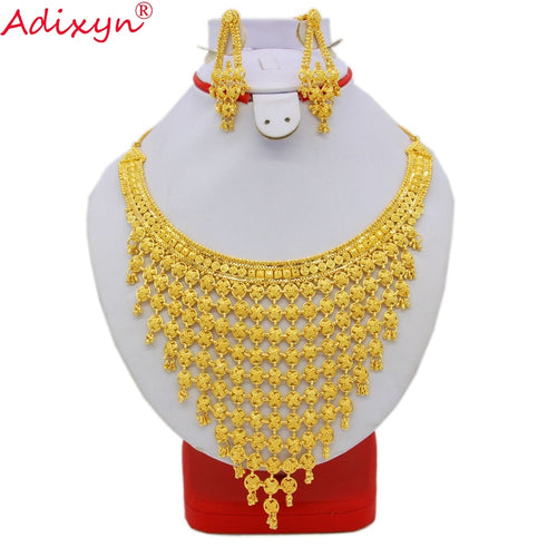 Adixyn India Plus Big Size Jewelry Set Gold Color/Copper Necklace Earrings Arab Dubai Wedding Party MOM Gifts N08093