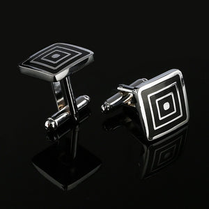 2019 New Simple Style Black Rectangle Cufflinks Mens Shirt Cuff Button Christmas Gifts for Men Silver Plated Cuff link gemelos