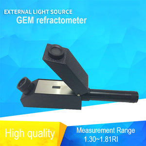 Gem Gemological Gemelogy Refractometer + RI Oil + 1.30 - 1.81 RI Range + 0.01 nD Scale Division with Built-in LED Light
