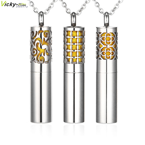Vicky-Home Essential Oil Diffuser Necklace Aromatherapy Diffuser Pendant Locket and Container 2-in-1 Stainless Steel Necklace
