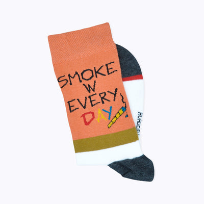 Bob Is My Soulmate / Smoke With Everyday Mottolu Sigara Desenli Turuncu Çorap - Socks Academy