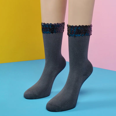 Dark Blue Sequin Embellished Slate Bamboo Socks - Socks Academy