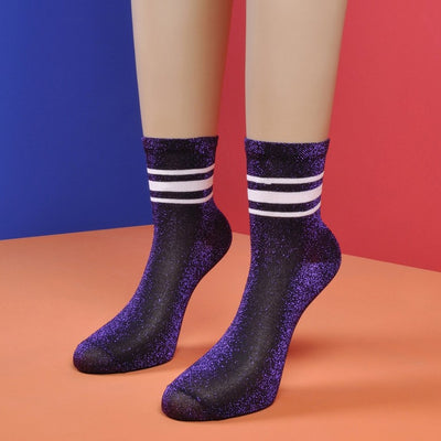 Glitter Purple Socks with Three White Stripes - Socks Academy