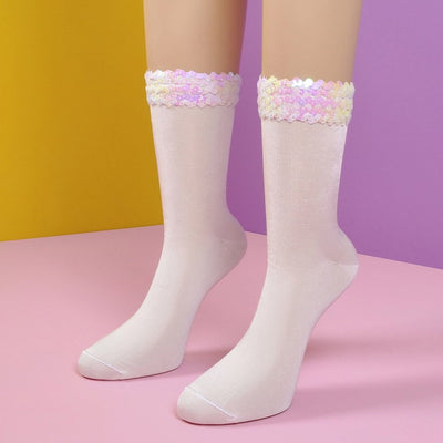 Sequin Embellished White Crew Socks - Socks Academy