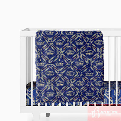 crib Royal Crown Unisex Design 5 Colors - Baby Name Fitted Crib Sheet - ZERO TO THREE CLUB crib