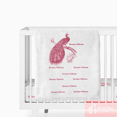 crib Royal Peacock Pink - Child's Name - Personalized Fitted Crib Sheet - Baby Gift - ZERO TO THREE CLUB crib