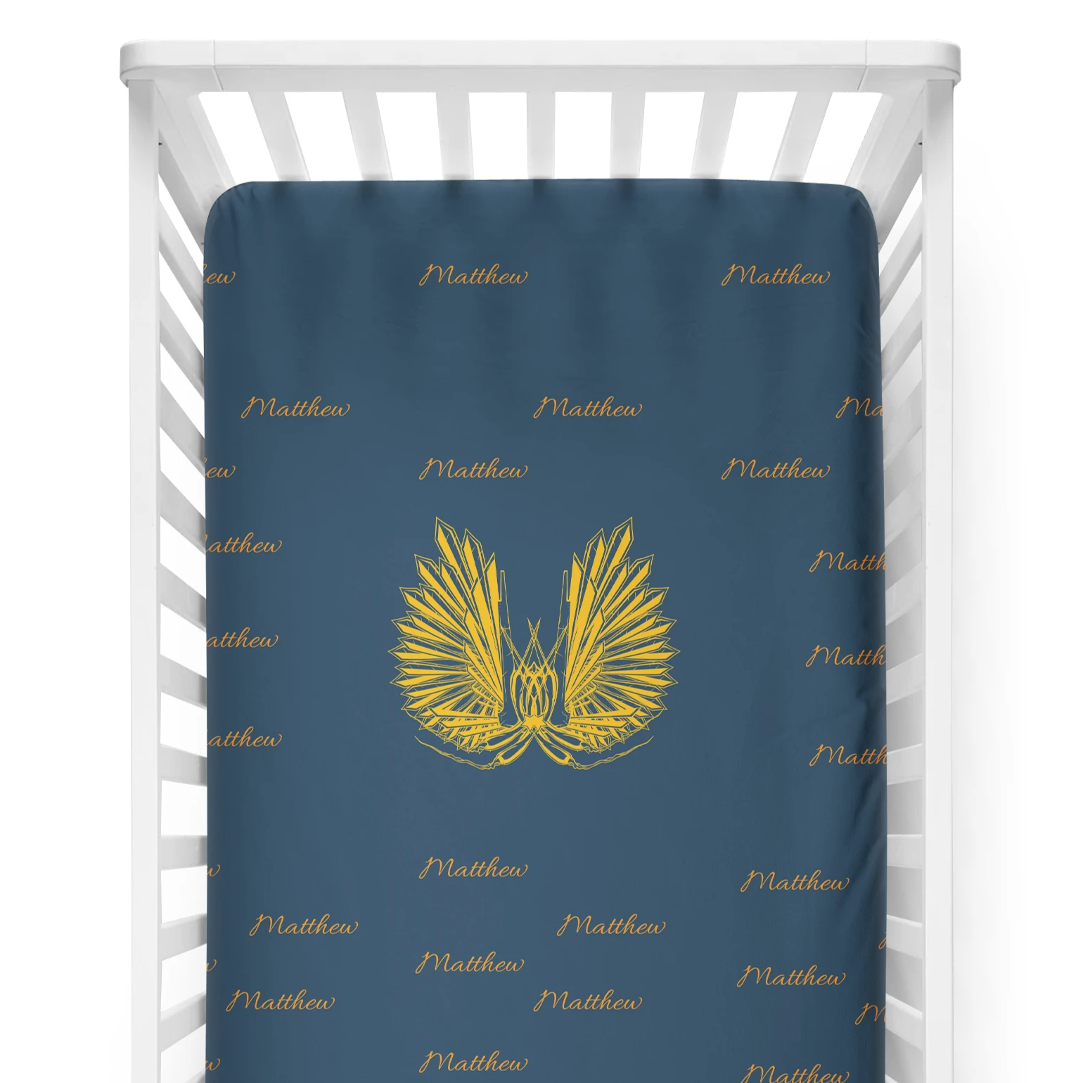 crib Angel Wings Name- Name - Personalized Fitted Crib Sheet - ZERO TO THREE CLUB crib