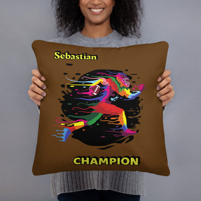 pillows 5 colors- Football Champion Name Personalized Pillow Cover with Pillow Insert Sleep is Overrated - ZERO TO THREE CLUB pillows