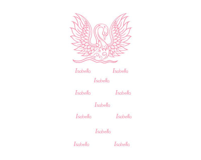 crib Royal Swan Pink - Child's Name - Personalized Fitted Crib Sheet - ZERO TO THREE CLUB crib
