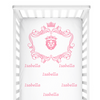 crib Royal Crest Pink - Child's Name - Personalized Fitted Crib Sheet - ZERO TO THREE CLUB crib