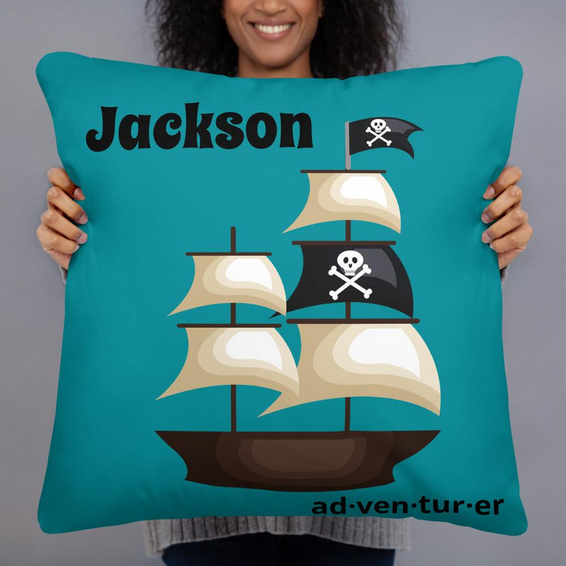 pillows Adventurer - Pirate Ship - Personalized - Two sided Print - Pillow Case with Insert - ZERO TO THREE CLUB pillows