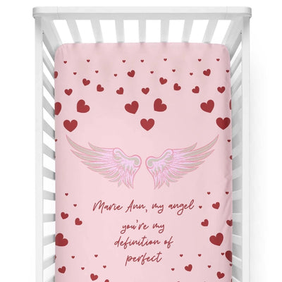 crib Angel Wings Pink - Name - Personalized Fitted Crib Sheet - ZERO TO THREE CLUB crib