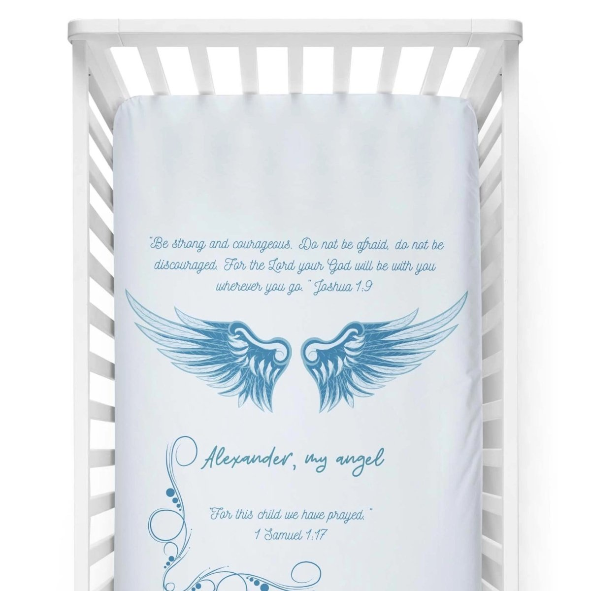 crib Angel Wings Psalm Blue- Name - Personalized Fitted Crib Sheet - ZERO TO THREE CLUB crib