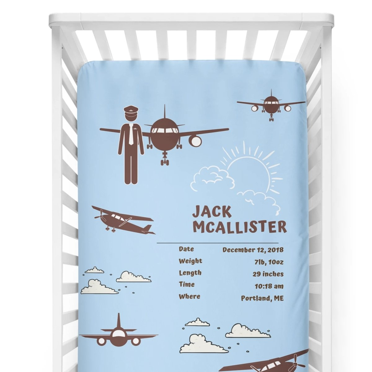crib Aviator Light Blue - Name & Birth Stats - Personalized Baby Boy Fitted Crib Sheet - ZERO TO THREE CLUB crib