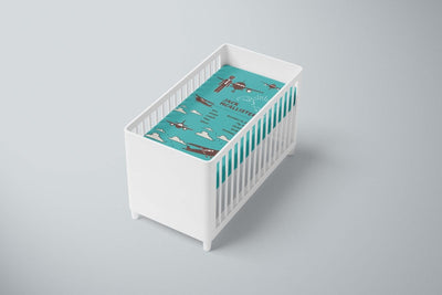 crib Aviator Turquoise - Name & Birth Stats - Personalized Baby Boy Fitted Crib Sheet - ZERO TO THREE CLUB crib