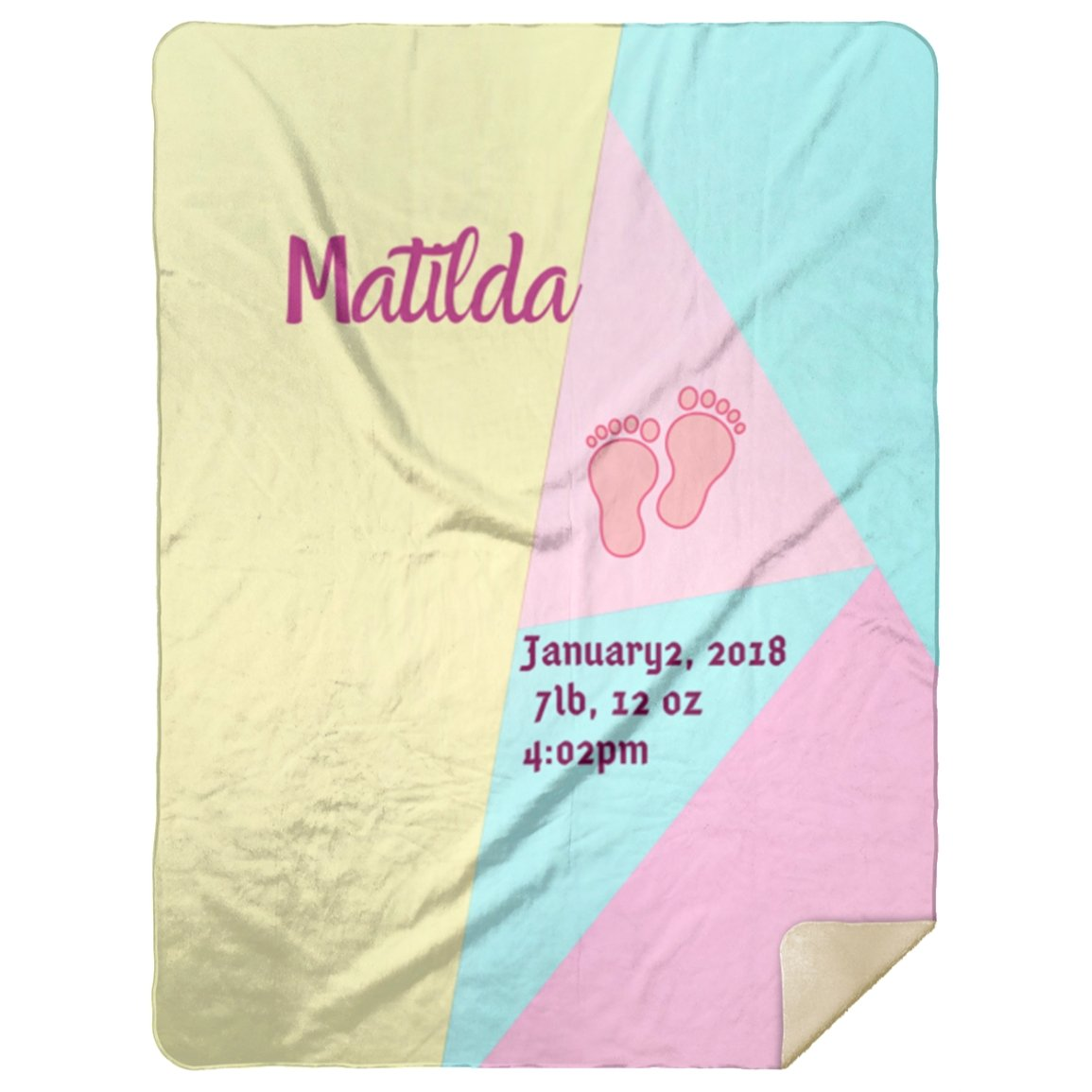 Blankets Color Block Personalized Birth Stats Premium Mink Sherpa Blanket - ZERO TO THREE CLUB Blankets