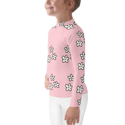 Daisies on Pink Long Sleeve Rash Guard - Mix and Match with Leggings - ZERO TO THREE CLUB