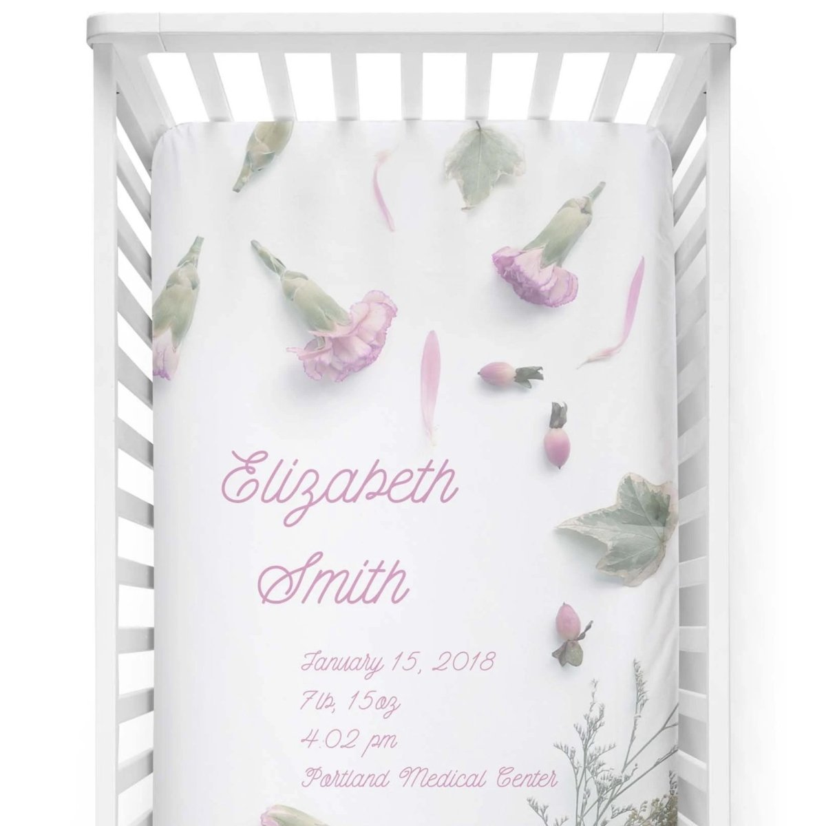 crib Elisabeth Lilac - Name & Birth Stats - Personalized Fitted Crib Sheet - ZERO TO THREE CLUB crib