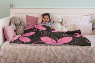 Blankets Floral Pink on Black Premium Arctic Fleece Blanket - ZERO TO THREE CLUB Blankets