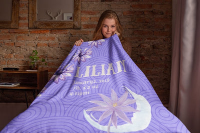 Blankets Lilac Personalized Birth Stats Premium Mink Sherpa Blanket - ZERO TO THREE CLUB Blankets