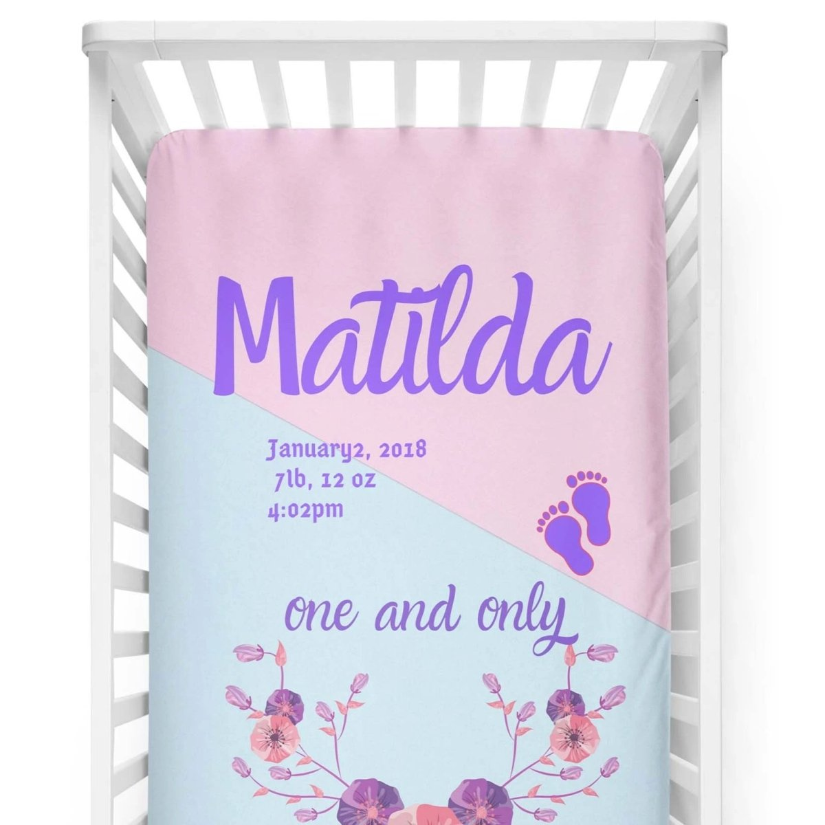 crib Matilda Color Block - Name & Birth Stats - Personalized Fitted Crib Sheet - ZERO TO THREE CLUB crib