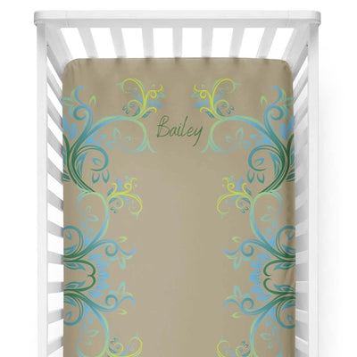 crib Millennial Amber- Name - Personalized Fitted Crib Sheet - ZERO TO THREE CLUB crib