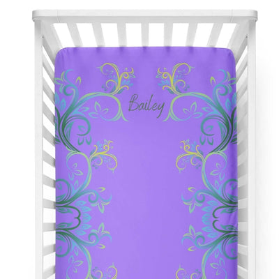 crib Millennial Amethyst - Name - Personalized Fitted Crib Sheet - ZERO TO THREE CLUB crib
