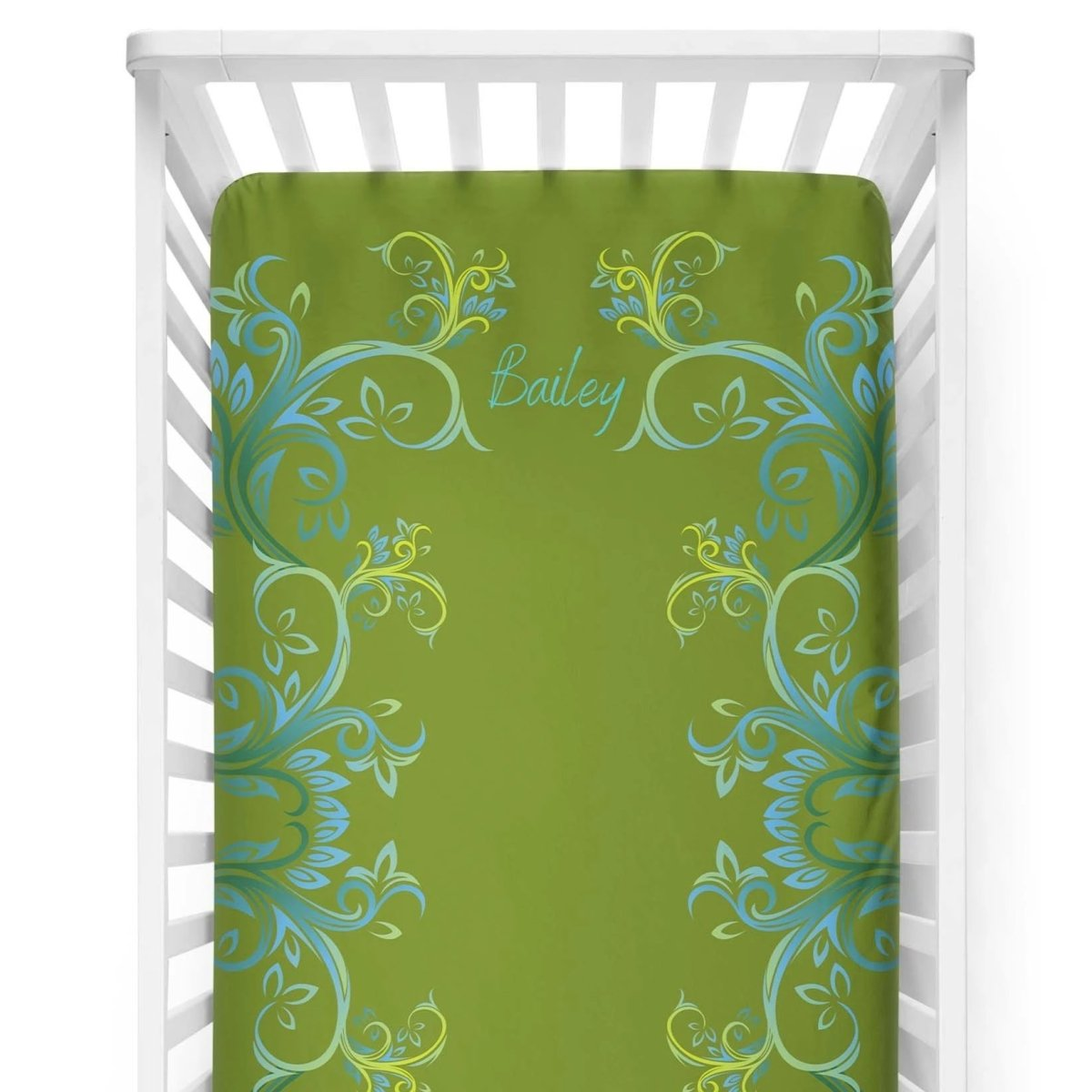 crib Millennial Apple Green - Name - Personalized Fitted Crib Sheet - ZERO TO THREE CLUB crib