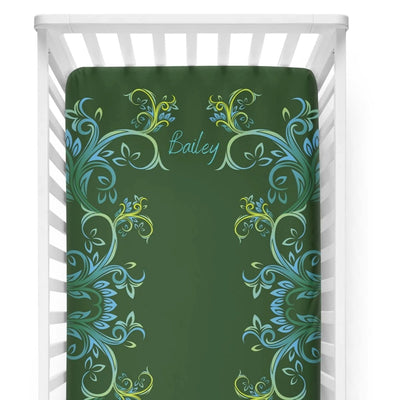 crib Millennial Forest - Name - Personalized Fitted Crib Sheet - ZERO TO THREE CLUB crib