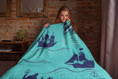 Blankets Nautical Personalized Arctic Fleece Blanket - ZERO TO THREE CLUB Blankets