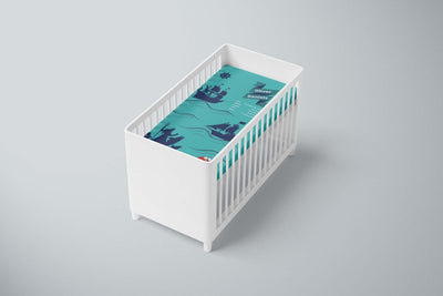 crib Nautical Turquoise - Name & Birth Stats - Personalized Baby Boy Fitted Crib Sheet - ZERO TO THREE CLUB crib