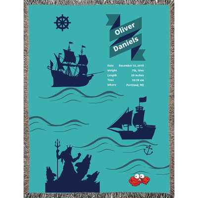 Blankets Nautical Woven Blanket - Personalize and Customize - ZERO TO THREE CLUB Blankets
