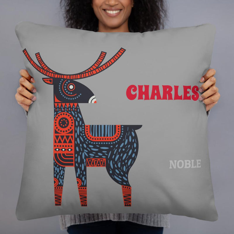 """Noble"" on Grey - Personalized - Two sided Print - Pillow Case with Insert - ZERO TO THREE CLUB"