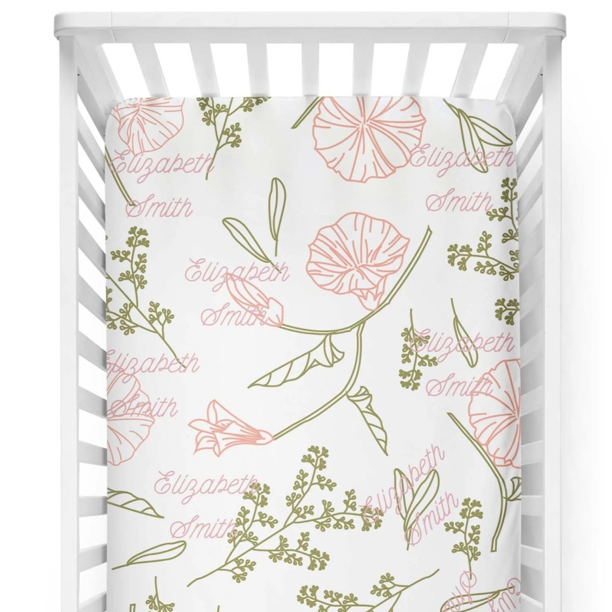 crib Pastel Floral - Name - Personalized Fitted Crib Sheet - ZERO TO THREE CLUB crib