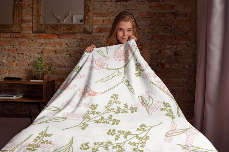 Blankets Pastel Floral Personalized Birth Stats Premium Mink Sherpa Blanket - ZERO TO THREE CLUB Blankets