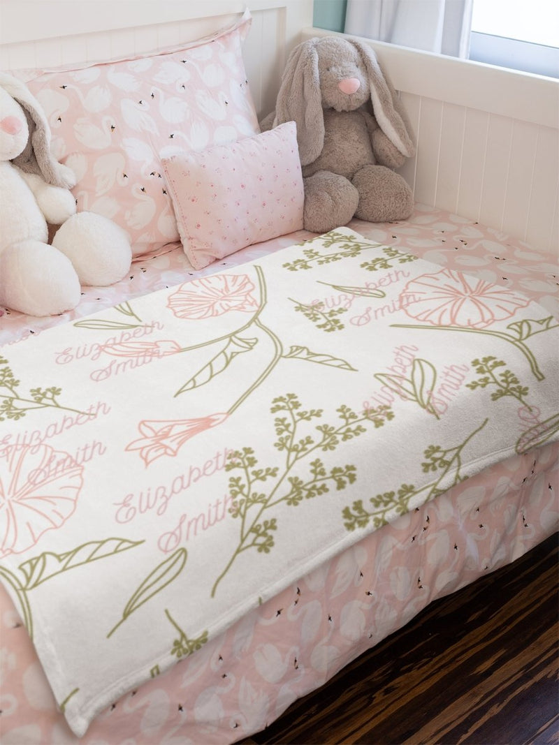 Blankets Pastel Floral Premium Arctic Fleece Blanket - Personalizable - ZERO TO THREE CLUB Blankets