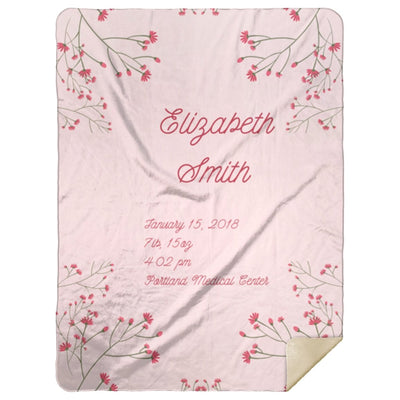 Blankets Pastel Pink Mink Personalized Birth Stats Premium Mink Sherpa Blanket - ZERO TO THREE CLUB Blankets