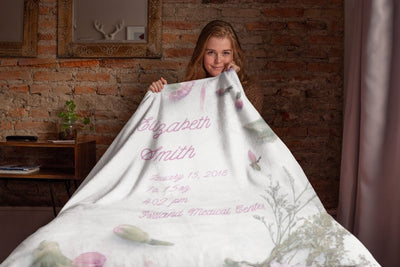 Blankets Pastel Purple Personalized Birth Stats Premium Mink Sherpa Blanket - ZERO TO THREE CLUB Blankets