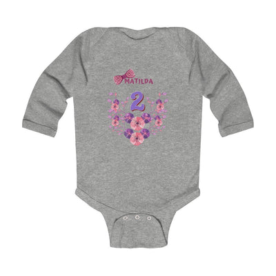 Kids clothes Personalized Birthday NAME Infant Long Sleeve Bodysuit - ZERO TO THREE CLUB Kids clothes