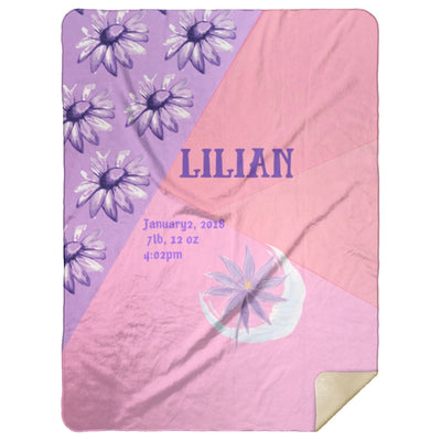 Blankets Pink Purple Girls Personalized Birth Stats Premium Mink Sherpa Blanket - ZERO TO THREE CLUB Blankets