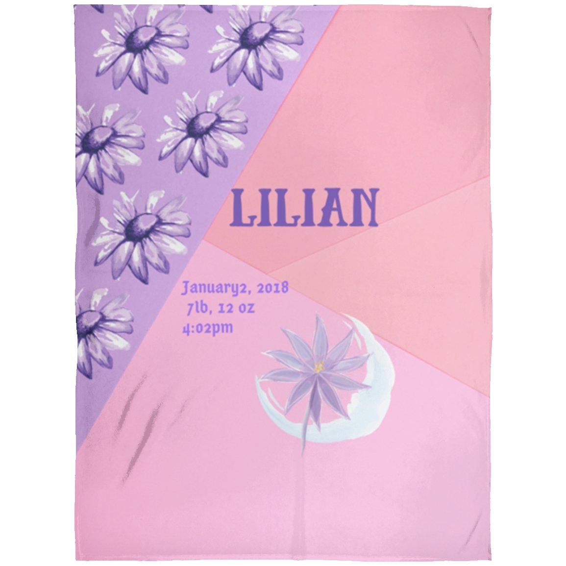 Blankets Pink Purple - Premium Arctic Fleece Blanket - Personalizable - ZERO TO THREE CLUB Blankets
