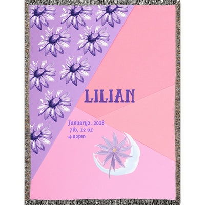 Blankets Pink Purple Woven Blanket - Personalize and Customize - ZERO TO THREE CLUB Blankets
