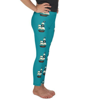 Pirate Ship on Dark Teal Leggings - Mix and Match with Long Sleeve Top - ZERO TO THREE CLUB