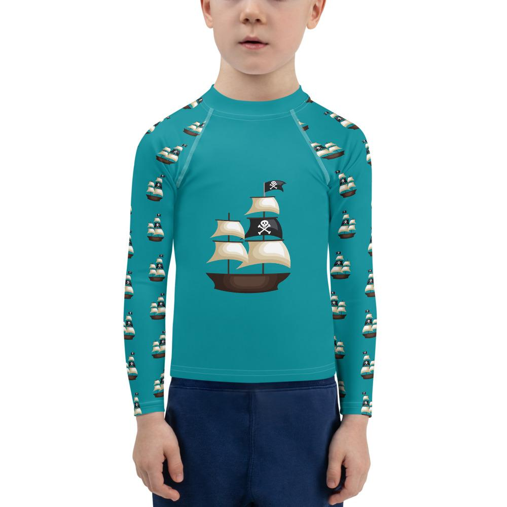 Pirate Ship on Dark Teal Long Sleeve Top - Mix and Match with Leggings - ZERO TO THREE CLUB