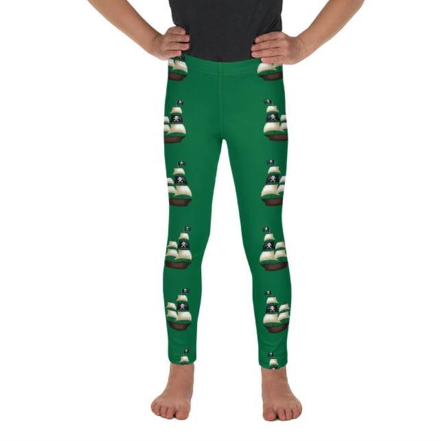 Pirate Ship on Forest Green Leggings - Mix and Match with Pirate Long Sleeve Top - ZERO TO THREE CLUB