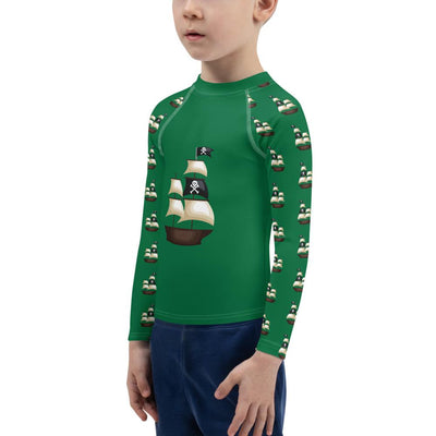 Pirate Ship on Forest Green Long Sleeve Top - Mix and Match with Pirate Leggings - ZERO TO THREE CLUB