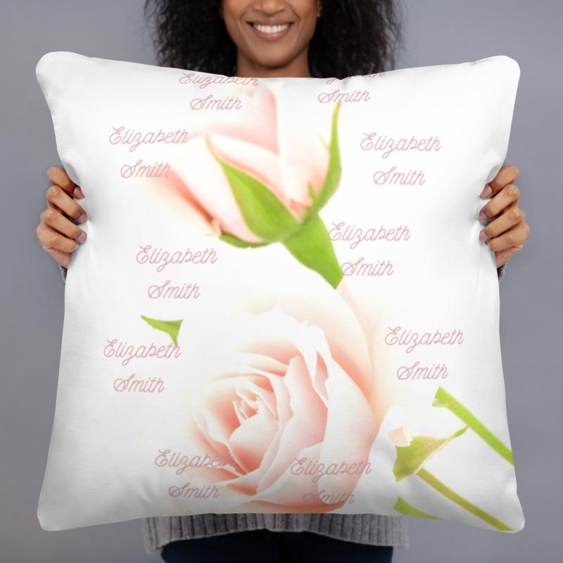 pillows Rose Ivory - Personalized - Two sided Print - Pillow Case with Insert - ZERO TO THREE CLUB pillows