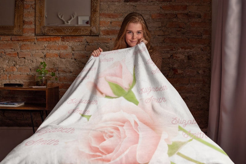 Blankets Rose Personalized Birth Stats Premium Mink Sherpa Blanket - ZERO TO THREE CLUB Blankets