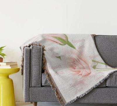 Blankets Rose Woven Blanket - Personalize and Customize - ZERO TO THREE CLUB Blankets