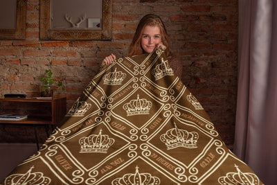 Blankets Royal Brown Personalized Birth Stats Premium Mink Sherpa Blanket - ZERO TO THREE CLUB Blankets